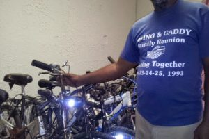 A bunch of bikes donated by a non profit organization for the needy.