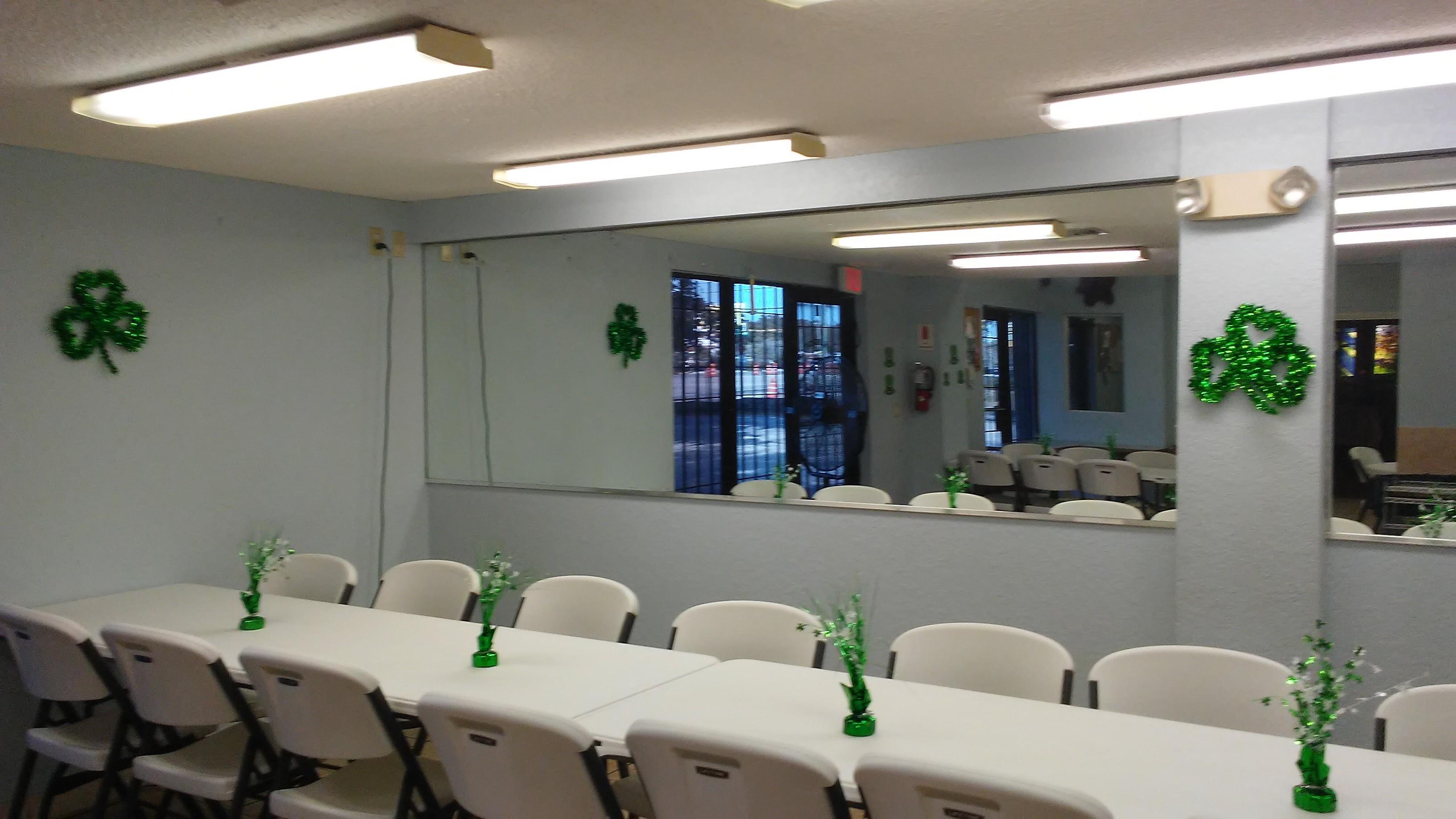 A picture inside the Our Fathers House Soup Kitchen where homeless people eat.