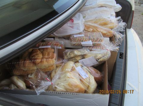 A bunch of pastries for feeding the homeless.