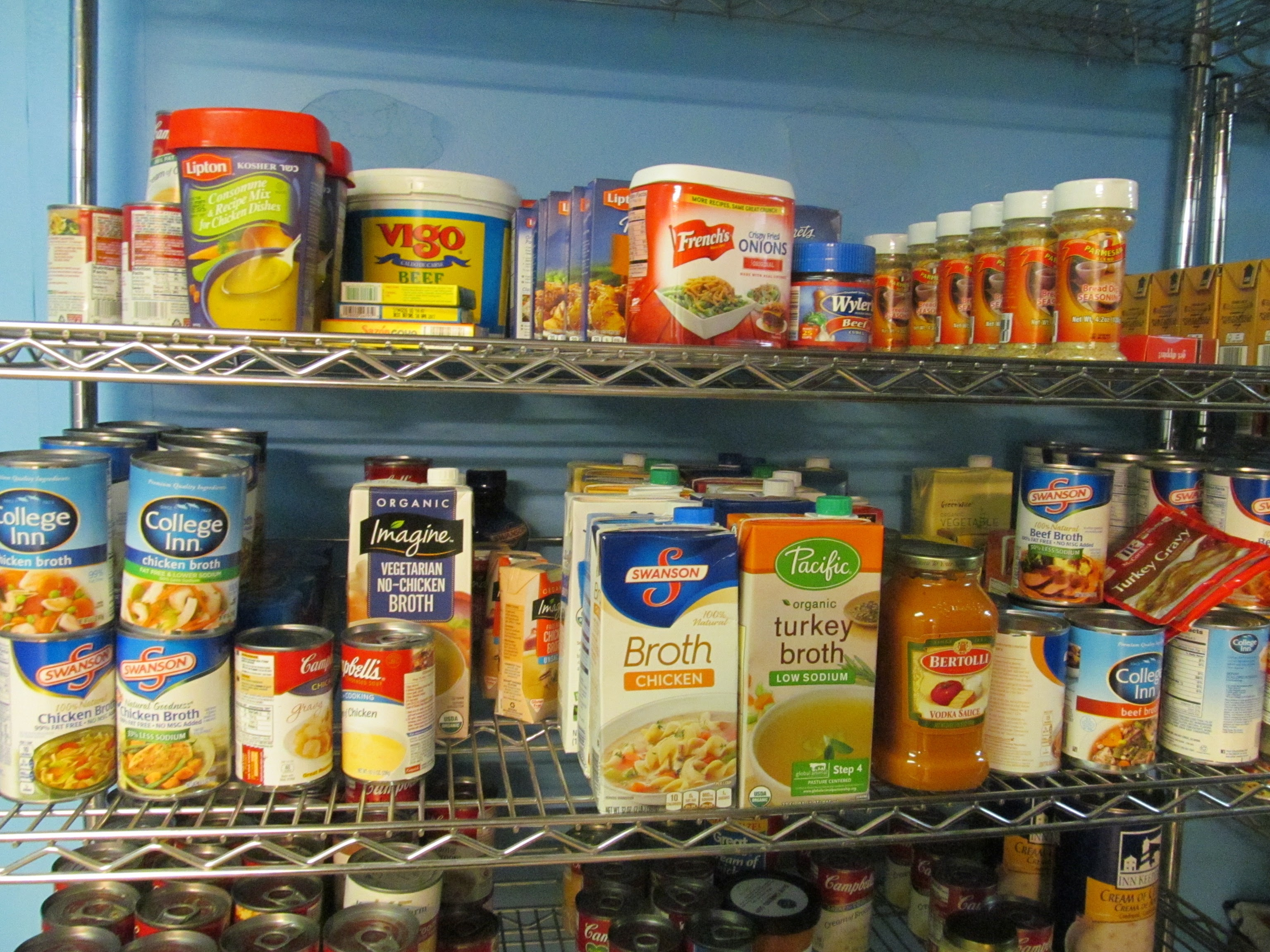 Stock of food for feeding homeless people.