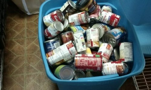 Boxes of canned goods for needy people.