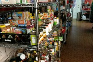 Food ingredients inside a storage room for soup kitchen to feed the poor.
