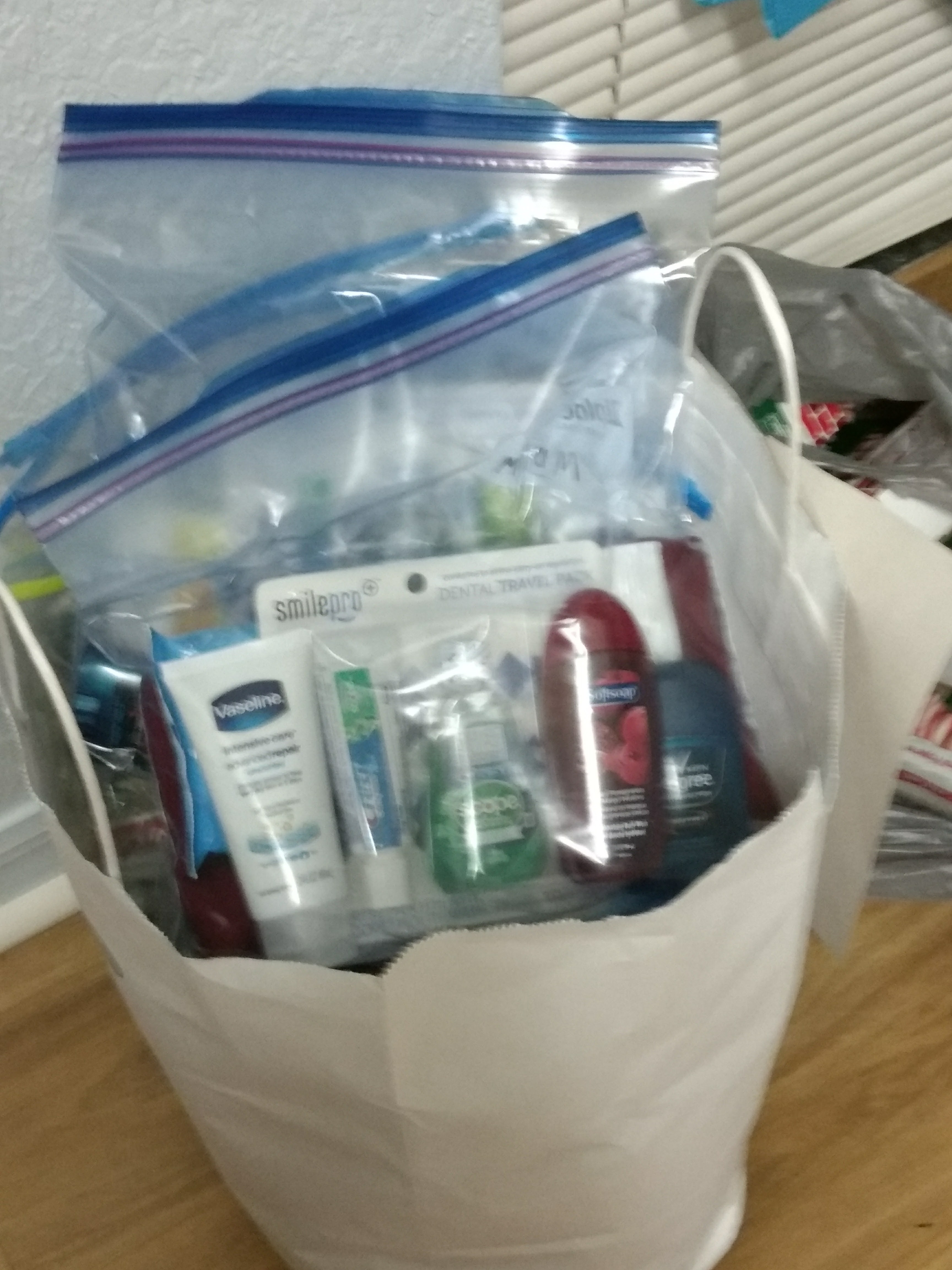 Hygiene donations for homeless people.
