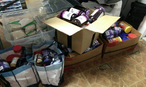 Donated goods for feeding the homeless.