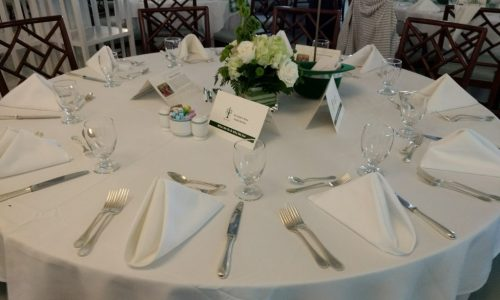 Table set-up on a charity event.
