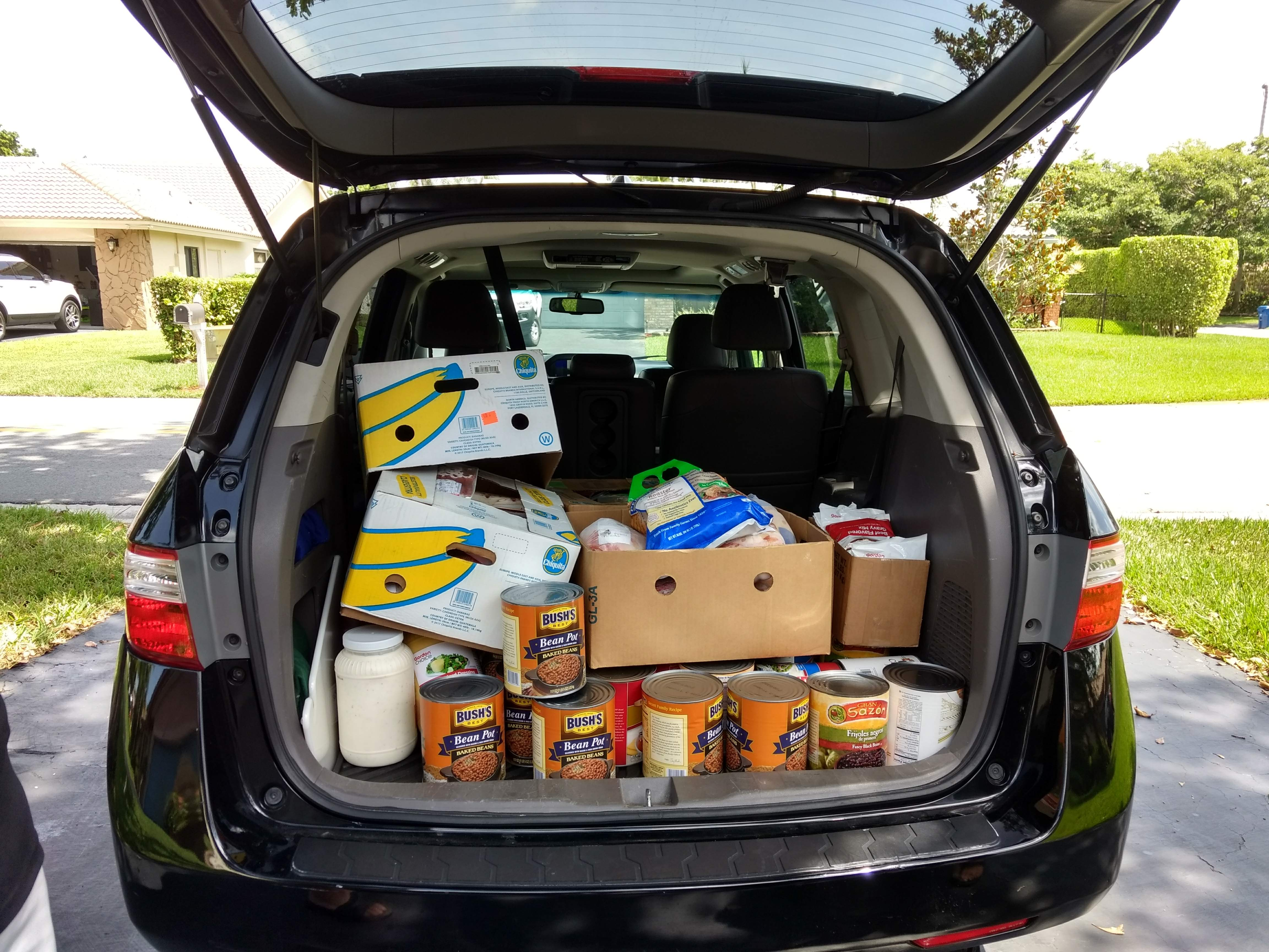 A car filled with goods for homeless people.