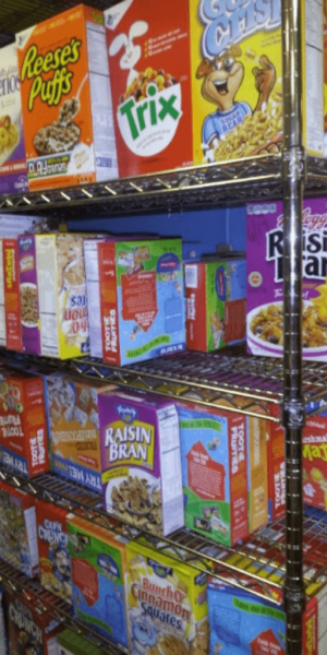 Supplies of cereals for feeding the homeless.