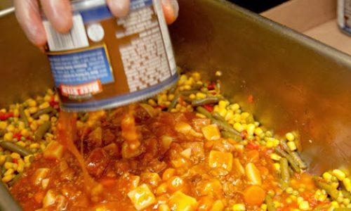 Preparing food for feeding the homeless.