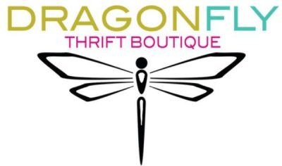 The logo of Dragonfly Thrift Botique, a non-profit organization that accepts clothing donations in Florida.