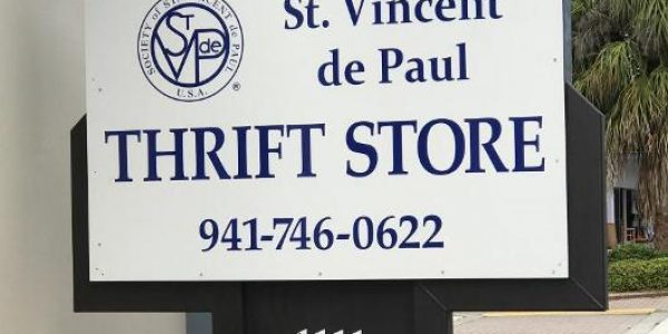 The logo of St. Vincent De Paul Thrift Store, a non-profit organization that accepts clothing donations in Florida.