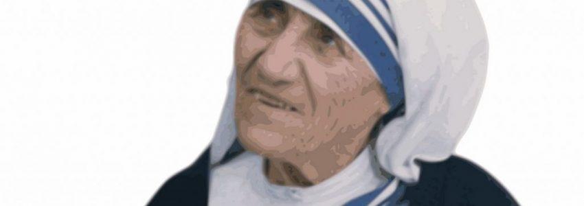 A portrait of Mother Teresa of Calcutta.