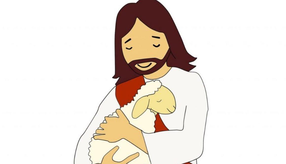 An illustration of Jesus hugging a lost sheep.