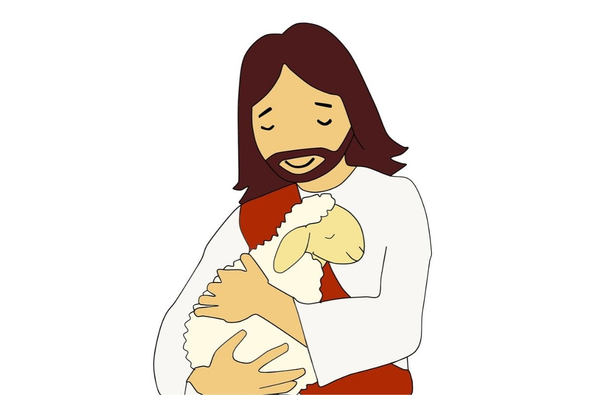 An illustration of Jesus hugging a lost sheep.
