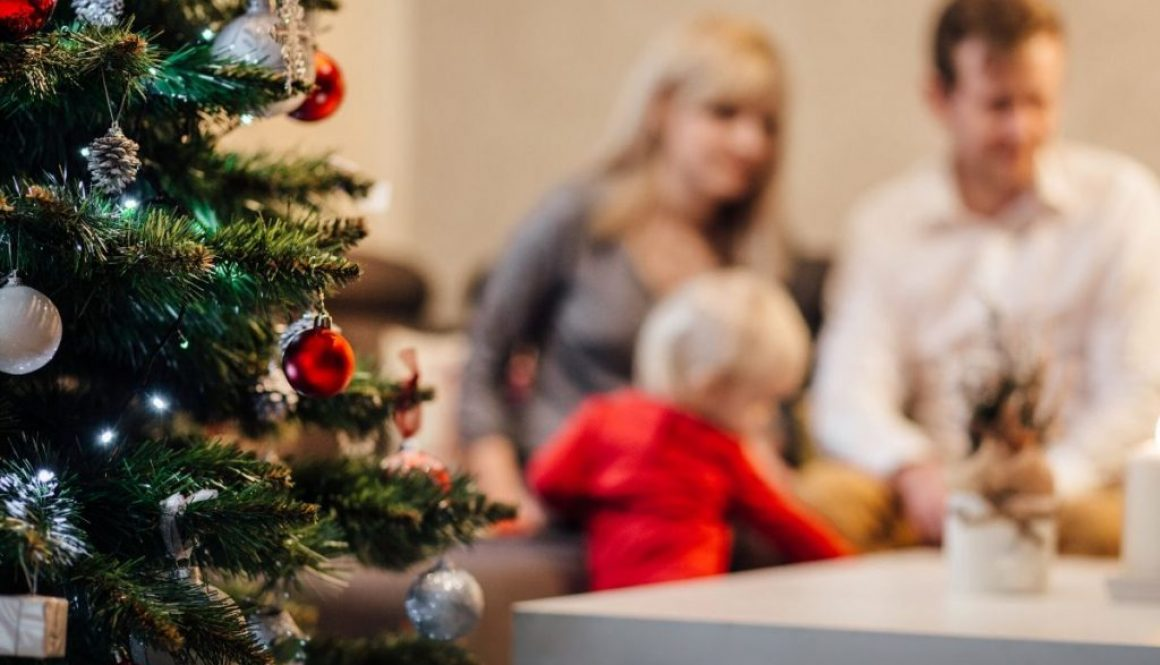 A family celebrating a simple Christmas.