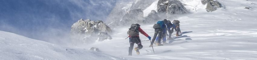 A pack of climbers ascends a mountain.