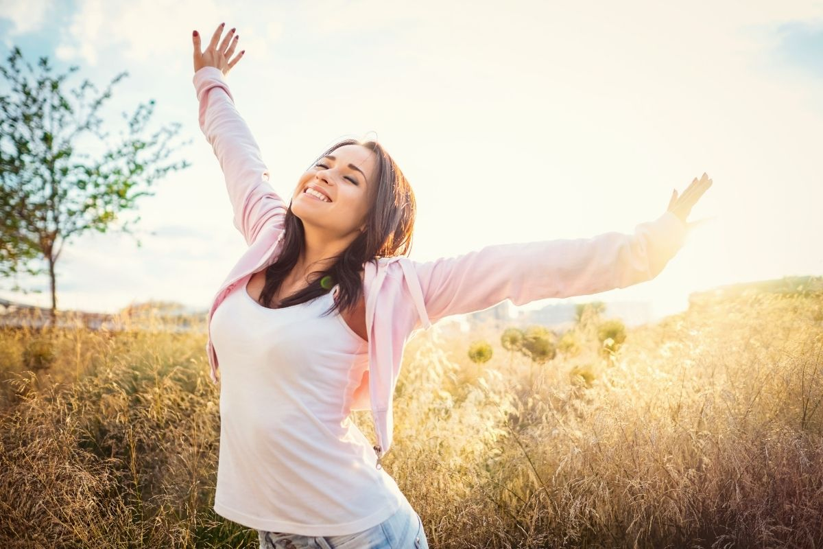 Young girl at farm waking up early in the morning and found her Genuine Happiness